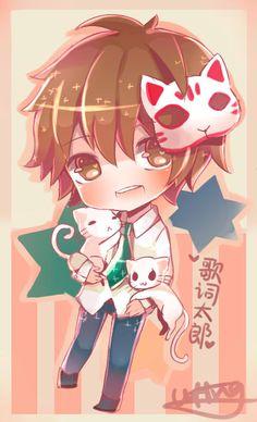 Kashitarou~ by UtingAD Anime Kitsune, Kitsune Mask, Anime Chibi, Manga Anime, Mask Japanese, Vocaloid, Anime Guys, My Idol, Fanart