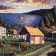 """Along The Bras d' Or Lakes"" - by Nova Scotia artist, Paul Hannon. Karla Gerard, Acrylic Artwork, Colorful Artwork, Naive Art, Cool Photos, Amazing Photos, Painting On Wood, Home Art, Coastal"