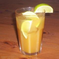 Caribbean Rum Punch Allrecipes.com  1 cup fresh lime juice  2 cups simple syrup  3 cups amber rum  4 cups orange juice  4 dashes bitters  freshly grated nutmeg