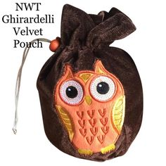 NWT Ghirardelli Velvet  Owl Pouch Adorable owl drawstring bag made of brown velour.  Approximately 9x7x4. Ghiradelli Bags Travel Bags