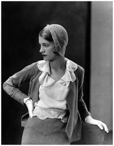 Love the skirt waist detail. That's a lot of collar...  distinguishedcompany: theimpossiblecool: Lee Miller, 1931.