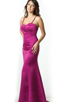 click here: http://www.jalisbridal.com/m-e1013.html $137...A floor length trumpet gown. This dress is made in satin with a sweetheart neckline and rouched bodice. It has spaghetti straps and buttons on the back. To compliment the look it also has a small train. Perfect dress for bridesmaids. ***This dress can also be special ordered in 15 additional colors: royal blue, claret, purple, turquoise, sky blue, red, black, pink, fuschia, banana, burgundy, lilac, hunter green, charcoal, coral.