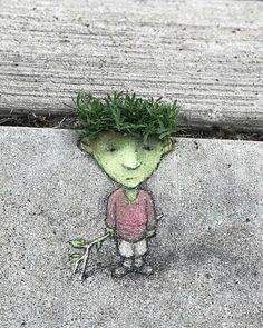 Perennial millennial with stick, true harbinger of June. David Zinn, 2018 at Federal Building, Ann Arbor, MI 3d Street Art, Amazing Street Art, Street Art Graffiti, Street Artists, David Zinn, Banksy Graffiti, Berlin Graffiti, Graffiti Artwork, Graffiti Lettering