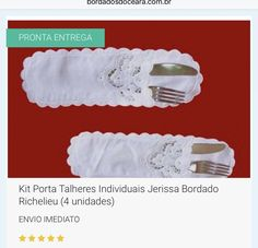🍴🍴UM LUXO PARA SUA MESA 😍😍😍 🎁 ENVIO IMEDIATO 🎁😍😃👍 👉 KIT PORTA TALHERES INDIVIDUAIS JERISSA BORDADO RICHELIEU (4 UNIDADES) //  👉 Tecido Cambraia de linho Rami.  👉 Bordado na Linha 100% Algodão. 👉 Tam. 27x8cm. //   📱 WhatsApp 85 98959.9107  💻 http://www.bordadosdoceara.com.br/produtos/mesa/kit-porta-talheres-individuais-richelieu-4-unidades-detail.html
