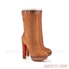Christian Louboutin Step N Roll Suede Boots Camel 140mm