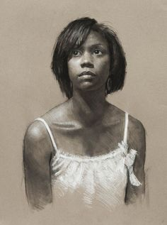 Artist: Jeffrey Hein {contemporary realism figurative art African-American black female head décolletage woman face portrait b+w drawing #loveart} <3 jeffhein.com