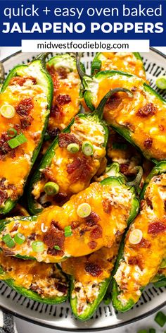 Just 4 ingredients and about 30 minutes is all it takes to get these easy baked jalapeno poppers ready for your game day celebration! They're loaded with classic popper flavors of cream cheese, sharp cheddar and LOTS of bacon! Baked Stuffed Jalapenos, Cream Cheese Stuffed Jalapenos, Stuffed Jalapeno Peppers, Bacon Recipes, Appetizer Recipes, Cooking Recipes, Milk Recipes, Yummy Recipes, Cooking Tips