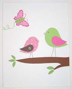 Fluttering by the birds - Children's Art Decor Baby Girl Room Decor Kids Wall by vtdesigns, $14.00