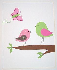 Nursery Art Baby Girl Room Decor Kids Wall Art Birds by vtdesigns