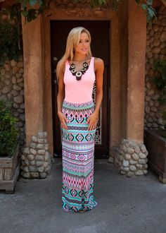 Online boutique. Best outfits. Pixelated Colorful Maxi Skirt - Modern Vintage Boutique