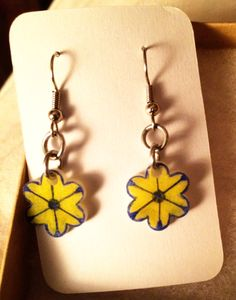 Yellow and Blue Flower Earrings by inthespicerack on Etsy