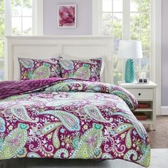 Intelligent Design Kayla Printed Reversible Comforter Mini Set Option (Purple - Full - Queen), ID-Intelligent Designs (Polyester, Paisley) Intelligent Design, Luxury Comforter Sets Queen, Paisley Bedding, Clean Bed, Online Bedding Stores, Dorm Bedding, Bed Sizes, 1 Piece, Comforters
