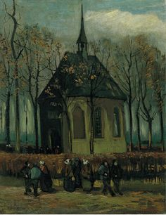"Art of the Day: Van Gogh, Congregation Leaving the Reformed Church in Nuenen, January-February 1884. Oil on canvas, 41.3 x 32.1 cm. Location unknown.  In the early morning hours of December 7, 2002, thieves broke into the Van Gogh Museum and escaped with two early works by Vincent van Gogh: this painting and another entitled ""View of the Sea at Scheveningen."" Although two suspects were arrested and later convicted of the crime, the paintings themselves have not been recovered."