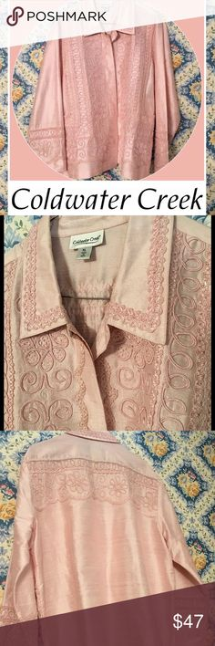 💯SILK💯SILK JACKET! Absolutely Gorgeous Jacket! It is 100% Silk with tonal embellishments. Pale TRUE PINK. NO ORANGY UNDERTONES. Mint condition except for one little dot on the back...upper left just below embellishment in pic 4. Very faint. Unlined and lightweight. Size XL and true to size. Grab it now and wear this Spring. Perfect for the season! Coldwater Creek Jackets & Coats Utility Jackets