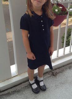 Land's End School Uniform Knit Ruffle Front Dress