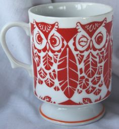 Vintage Red  & White Owl Mug  Coffee Cup Glass Winking by gremlina, $12.50