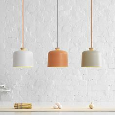 "idreamcreateandadmire: ""Fuse lamps, by Note Design Studio These lamps by Note Design Studio for Ex.t combine a porcelain shade with a wooden pendant holder, and are available in two sizes and three..."