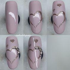day nails kurze nägel - T Black Nails, Pink Nails, Glitter Nails, Nails Kylie Jenner, Natural Gel Nails, Valentine Nail Art, Nails Polish, Cute Nail Art Designs, Nail Patterns