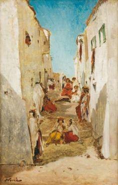 Maxime NOIRÉ (1861-1927)    Femmes dans les rues de la Casbah Huile sur panneau,