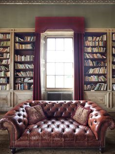 Rise Hall, East Riding, Yorkshire, England—There is nothing about this that I dislike. Library: love. Deep leather couch: love. Yorkshire: LOVE.