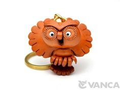 Flying Owl Leather Keychain(L)