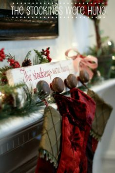image of stocking rack for christmas decor on fireplace mantle