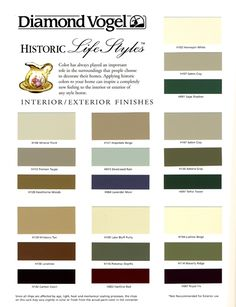 Historic Lifestyles Color Chart | COLOR CENTER | Diamond Vogel Architectural Coatings for Professionals, Architects and Homeowners