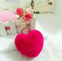 30dd9765e8a3 2017 Love Heart Keychain fur pom pom Keychain fluffy rabbit fur ball  keyring llaveros Key Chain For Charm women s Bag key Holder