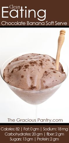 Clean Eating Chocolate Banana Ice Cream.  #cleaneating #eatclean #cleaneatingrecipes #icecream #icecreamrecipes