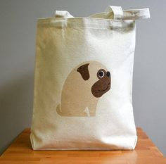 Canvas tote bag, pug, cute and adorable. Sturdy 100% 10oz. cotton canvas.. $16.00, via Etsy.