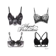 Fashion illustration of lingerie.