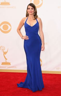 Tina Fey in a royal blue Narciso Rodriguez Low Cut Dresses, Sexy Dresses, Blue Dresses, Tina Fey Feet, Celebrity Feet, Celebrity Style, The Emmys, Beautiful Celebrities, Beautiful Women
