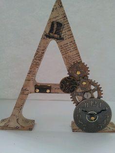 Steampunk letters Arte Steampunk, Steampunk Crafts, Steampunk Gears, Steampunk Design, Steampunk Wedding, Letter A Crafts, Letter Art, Decoupage, Fancy Letters