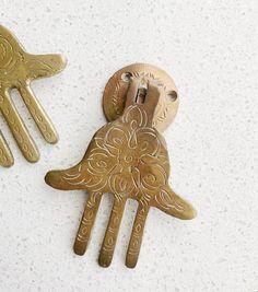 Vintage Hamsa Door Knocker | Moroccan Brass Hand of Fatima Hand Of Fatima, Door Knockers, North Africa, Religious Art, Hamsa, Moroccan, Brass, Antiques, Handmade