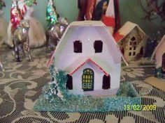 White glittered putz house
