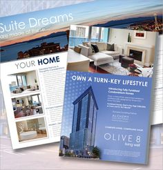 Real estate flyer design for a high-end real estate sales for a prestigious realty firm in Seattle, Washington. This flyer was designed to showcase the exquisite features available in their fully furnished condominium homes in downtown Seattle.