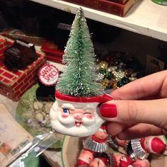 So cute!  Tiny vintage Christmas Santa mug