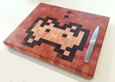 Endgrain hardwood chopping board with retro pixel by TimberArcadia, $149.00