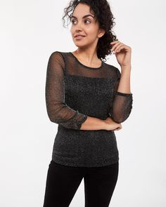 Show your originality with this shimmer top. Featuring sleeves, round neck and semi-sheer fabric, it pairs well with black pants and assorted shoes. Sheer Fabrics, Black Pants, Clothes For Women, Sleeves, Tops, Clothing, Fashion, Ladies Clothes, Top