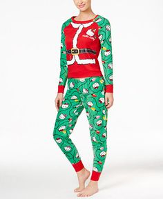 Celebrate the season with the fun feline designs on Hello Kitty's Holly Jolly Kitty pajama set, crafted of a festive combo of comfy soft fabrics. | Top front and back: polyester/cotton; top sleeves an