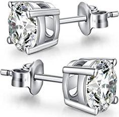 Mens Diamond Earrings, Princess Cut Diamond Earrings, Diamond Studs, Silver Diamonds, Stud Earrings, Cubic Zirconia Earrings, Sterling Silver Earrings Studs, Silver Rounds, White Gold
