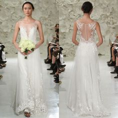 2015 Watters A-Line Leaf Applique Wedding Dresses Sheer Plunging Neck Covered Button Back Sweep Train Tulle Bridal Gown from Dresstop,$140.63   DHgate.com