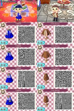 Tardis dress! yileikong: I hope this is okay for a submission. I have a Japanese copy of Animal Crossing: New Leaf with the sewing machine unlocked, so I decided to make some DW clothes for my fellow Whovians who will be getting the game and because making my characters cosplay is fun. One's a TARDIS dress and the other is the 11th Doctor's outfit. You can't make pants though, so yeah..