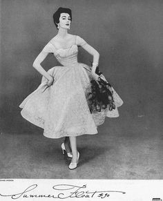 Gorgeous dress! I especially like the neckline and off-the-shoulder sleeves. #lace #vintage #fashion #1950s