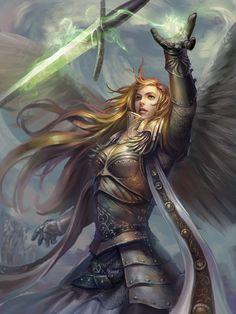 Larien Faro - Protector Aasimar - Paladin (Oath of Redemption) Angel Warrior, Fantasy Warrior, Fantasy Rpg, Fantasy Artwork, Art Vampire, Vampire Knight, Fantasy Women, Fantasy Girl, Fantasy Inspiration