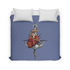 Love and Sea (anchor with heart and compass) by #Beatrizxe | #threadless #duvet #cover #twin Illustration of a heart pierced by an anchor and surrounded by a rope. The background is a compass or windrose. It has a maritime theme, due to It shows a love for the sea and everything it contains.#ocean #sea #tattoo #navy #ship #sailor #nautical #anchor #beach #sailing #boat #oldschool #waves #tide #heart #love #rope #compass #windrose #ink #travel #journey #voyage #illustration #draw #drawing…