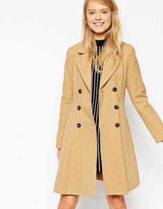 5191c30aad3 ASOS Skater Coat with Double Breast Button Detail at asos.com