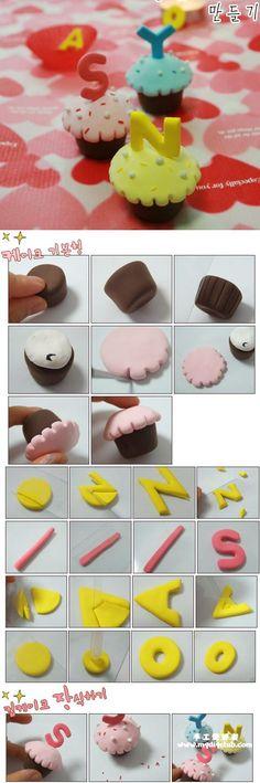 Modelage de cupcakes avec des lettres