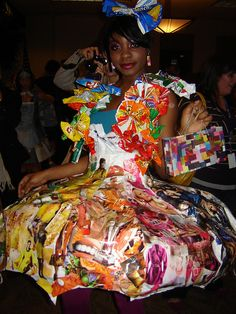 Trashion Upcycled Fashion. For reading colorful magazine pages on a rainy day