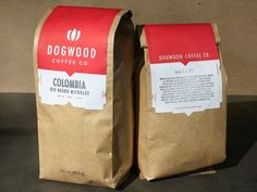 Dogwood Coffee Company label designed by Holmberg Design. Printed by Letterpress and Design company Studio On Fire - studioonfire.com